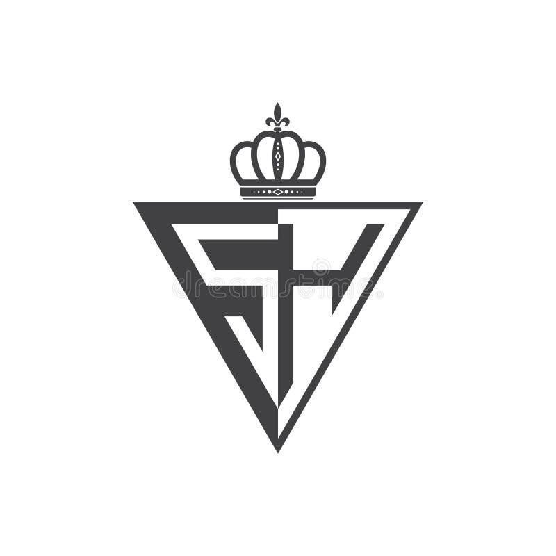 Ο αρχικός Μαύρος τριγώνων λογότυπων δύο επιστολών SH μισός απεικόνιση αποθεμάτων