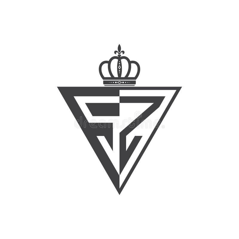 Ο αρχικός δύο επιστολών Μαύρος τριγώνων λογότυπων της SZ μισός ελεύθερη απεικόνιση δικαιώματος
