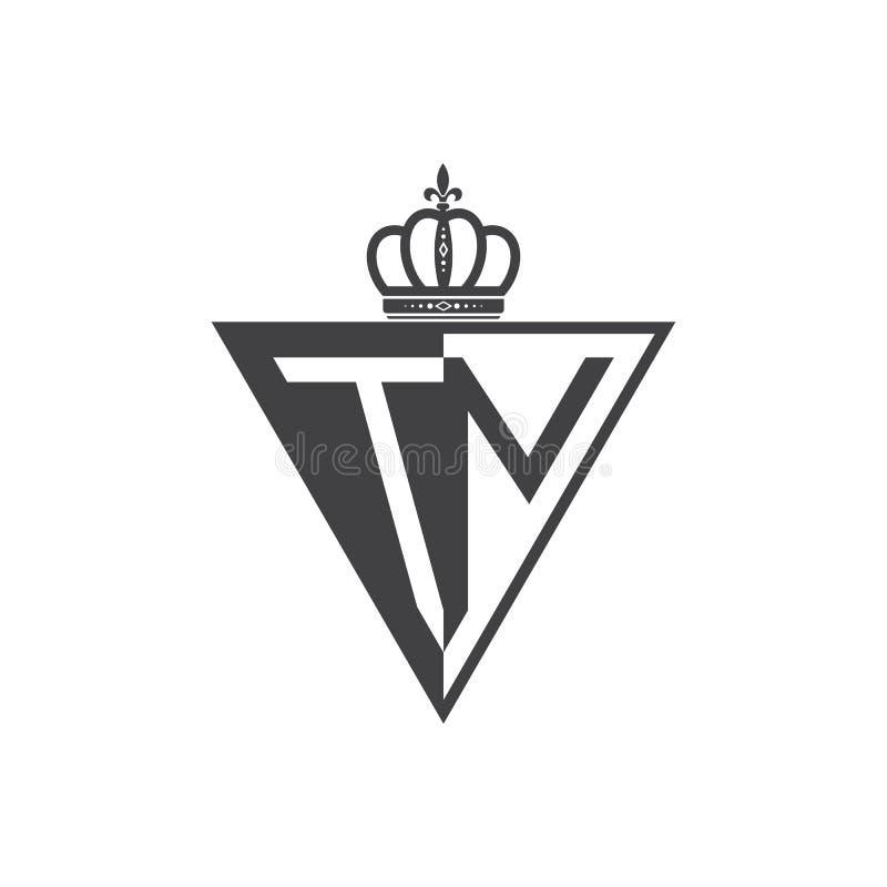Ο αρχικός δύο επιστολών Μαύρος τριγώνων λογότυπων της TN μισός διανυσματική απεικόνιση