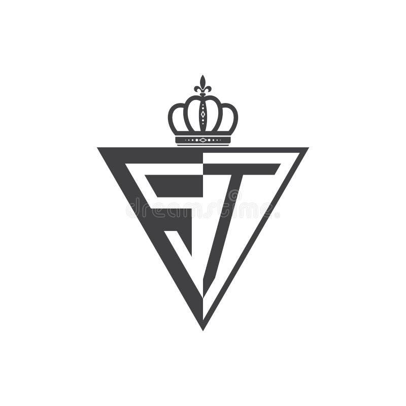 Ο αρχικός δύο επιστολών Μαύρος τριγώνων λογότυπων του ST μισός διανυσματική απεικόνιση