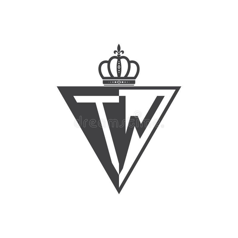 Ο αρχικός δύο επιστολών Μαύρος τριγώνων λογότυπων του TW μισός απεικόνιση αποθεμάτων