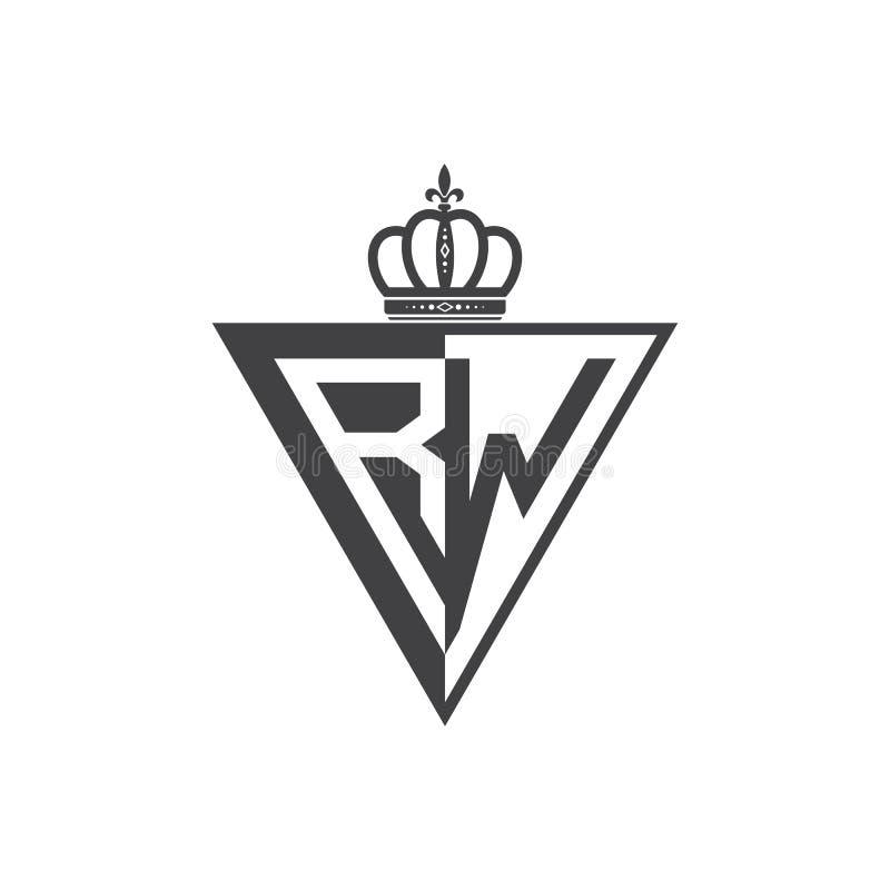 Ο αρχικός δύο επιστολών Μαύρος τριγώνων λογότυπων RW μισός διανυσματική απεικόνιση