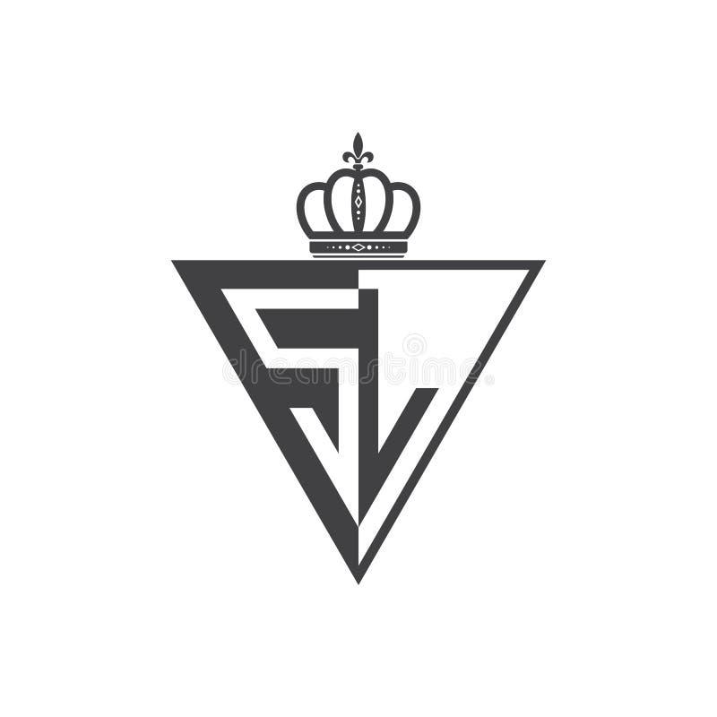Ο αρχικός δύο επιστολών Μαύρος τριγώνων λογότυπων SL μισός ελεύθερη απεικόνιση δικαιώματος