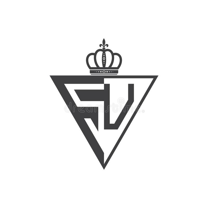 Ο αρχικός δύο επιστολών Μαύρος τριγώνων λογότυπων SU μισός διανυσματική απεικόνιση