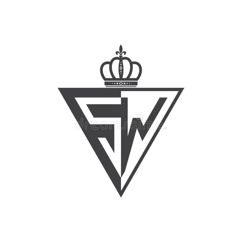 Ο αρχικός δύο επιστολών Μαύρος τριγώνων λογότυπων Sw μισός απεικόνιση αποθεμάτων