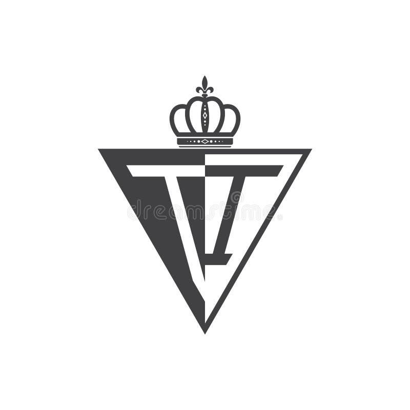 Ο αρχικός δύο επιστολών Μαύρος τριγώνων λογότυπων Tj μισός απεικόνιση αποθεμάτων