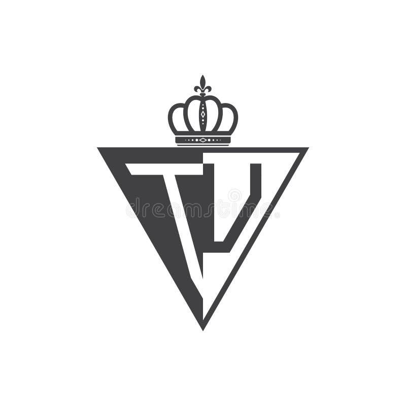 Ο αρχικός δύο επιστολών Μαύρος τριγώνων λογότυπων TU μισός ελεύθερη απεικόνιση δικαιώματος