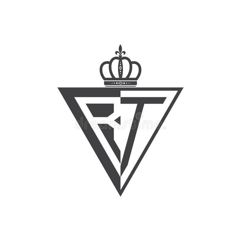 Ο αρχικός RT δύο επιστολών μισός Μαύρος τριγώνων λογότυπων ελεύθερη απεικόνιση δικαιώματος