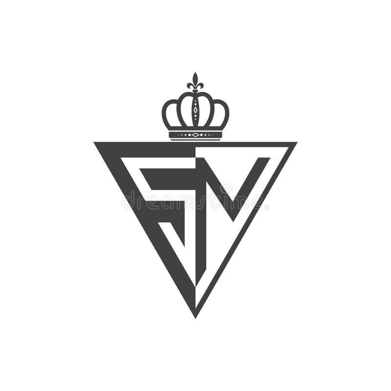 Ο αρχικός SN δύο επιστολών μισός Μαύρος τριγώνων λογότυπων απεικόνιση αποθεμάτων