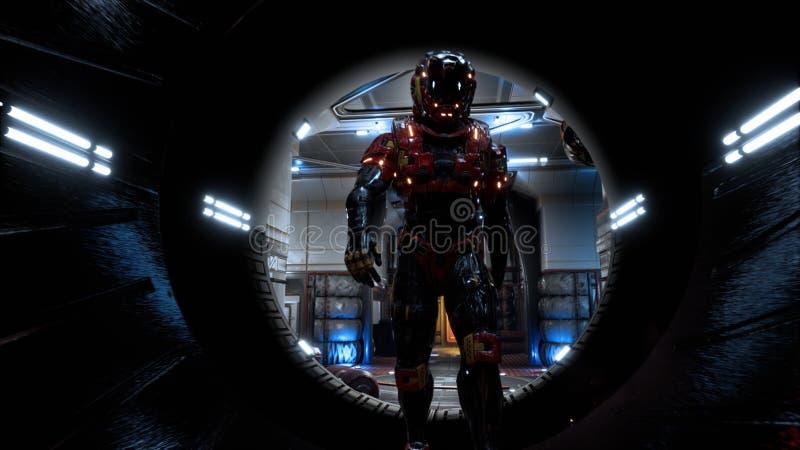 Ο αστροναύτης περνά μέσω μιας φουτουριστικής σήραγγας sci-Fi με τους σπινθήρες και τον καπνό, η εσωτερική άποψη τρισδιάστατη απόδ διανυσματική απεικόνιση