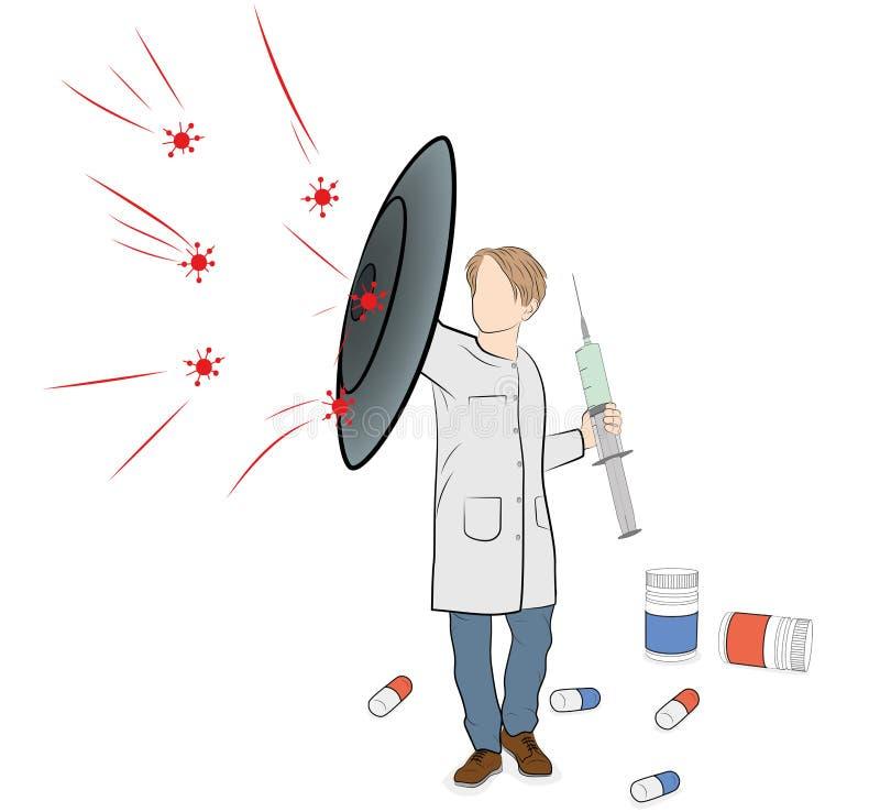 Ο γιατρός κρατά την ασπίδα προστατεύει από τους ιούς χάπια διεσπαρμένα επίσης corel σύρετε το διάνυσμα απεικόνισης απεικόνιση αποθεμάτων