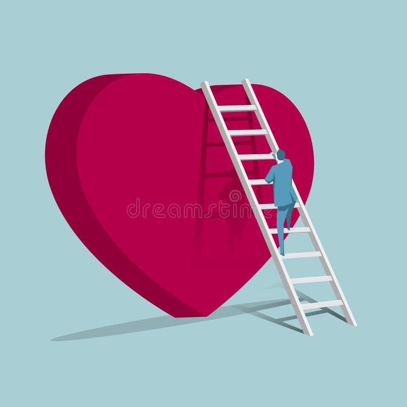 Ο επιχειρηματίας αναρριχείται επάνω διαμορφωμένο στο καρδιά σύμβολο από τη σκάλα διανυσματική απεικόνιση