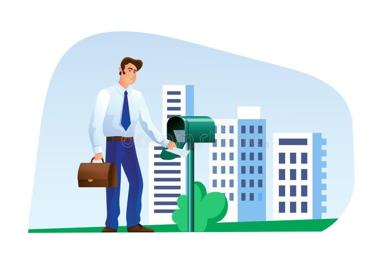 Ο επιχειρηματίας ατόμων, ελέγχει την ταχυδρομική θυρίδα του, βγάζει τις επιστολές και την αλληλογραφία διανυσματική απεικόνιση