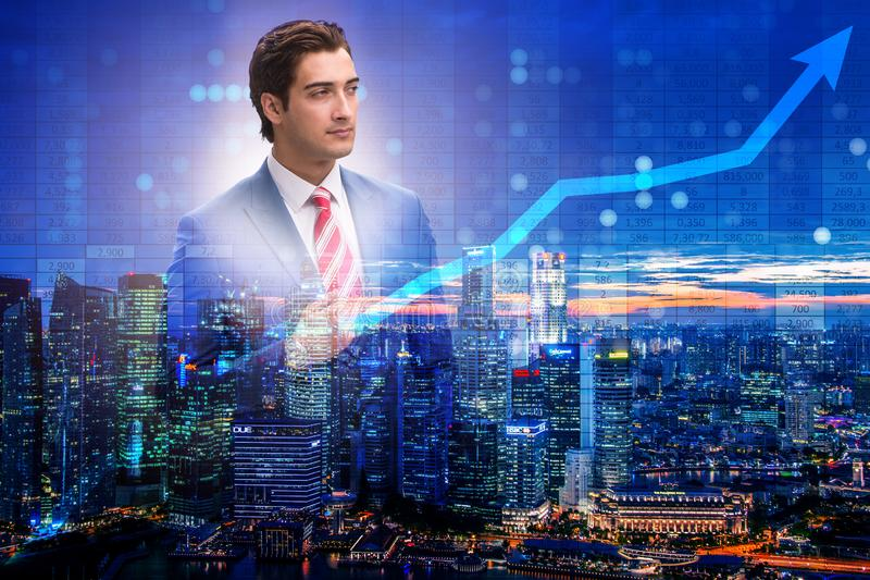 Ο επιχειρηματίας στην έννοια εμπορικών συναλλαγών αποθεμάτων ελεύθερη απεικόνιση δικαιώματος