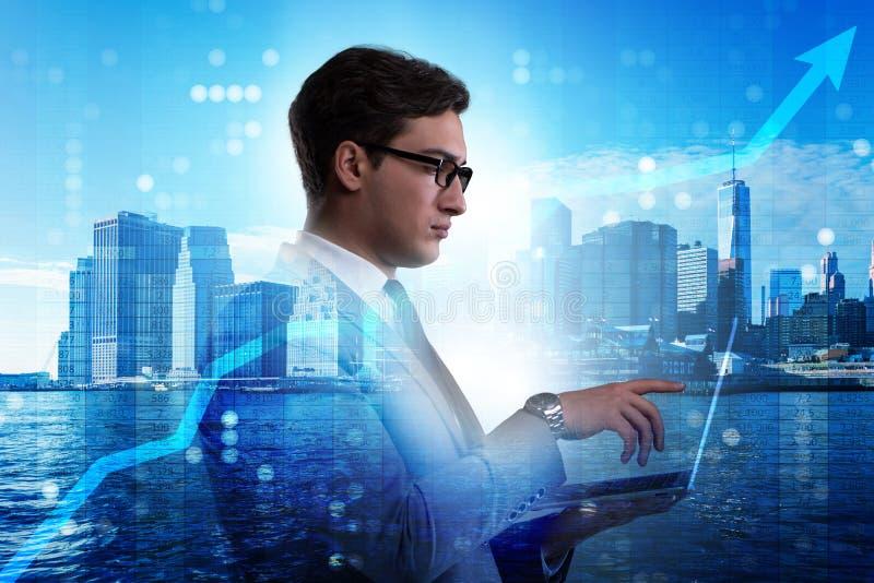 Ο επιχειρηματίας στην έννοια εμπορικών συναλλαγών αποθεμάτων απεικόνιση αποθεμάτων