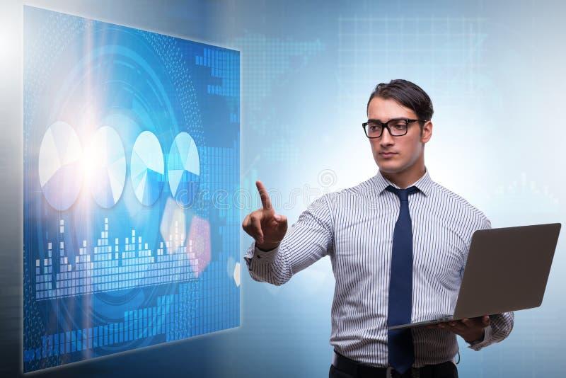 Ο επιχειρηματίας στη φουτουριστική έννοια εμπορικών συναλλαγών αποθεμάτων ελεύθερη απεικόνιση δικαιώματος