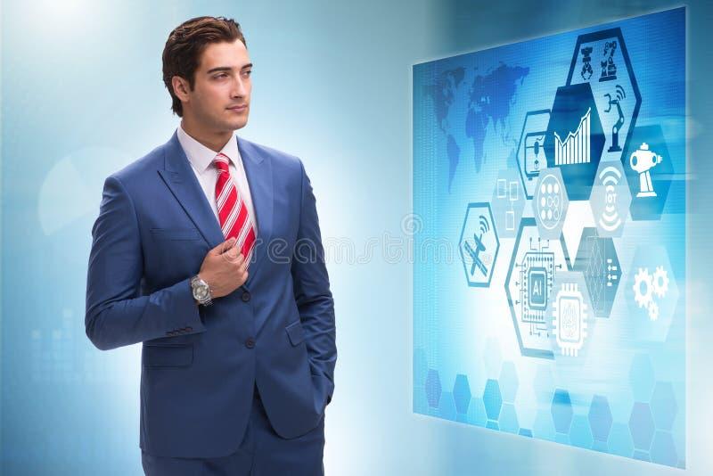 Ο επιχειρηματίας στη φουτουριστική έννοια εμπορικών συναλλαγών αποθεμάτων απεικόνιση αποθεμάτων
