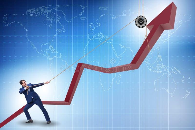 Ο επιχειρηματίας που υποστηρίζει την οικονομική ανάπτυξη με το τράβηγμα του σχοινιού διανυσματική απεικόνιση