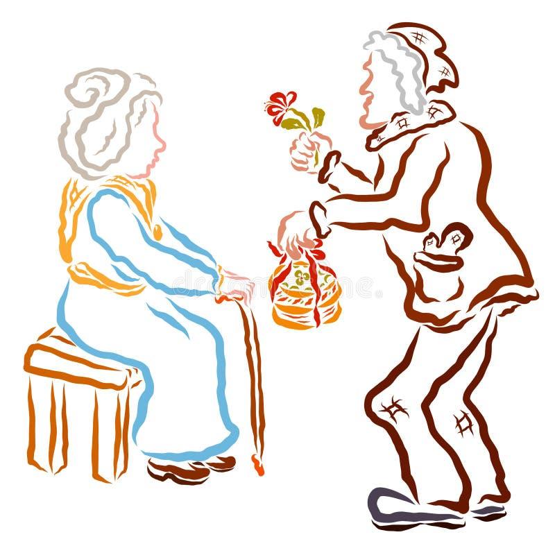 Ο ηληκιωμένος συγχαίρει τη ηλικιωμένη γυναίκα και της δίνει ένα κέικ με ένα λουλούδι απεικόνιση αποθεμάτων