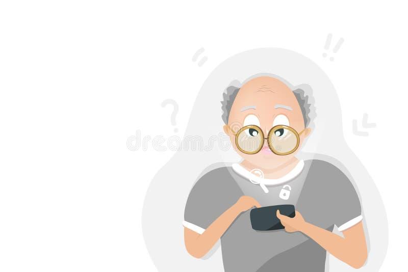 Ο ηληκιωμένος παίζει το κινητό τηλέφωνο, ψηφιακή τεχνολογία, τρόπος ζωής ανθρώπων, εθισμός μέσων, επίπεδο σχέδιο χαρακτηρών κινου διανυσματική απεικόνιση