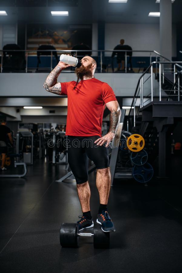 Ο ισχυρός αθλητής πίνει το νερό, workout στη γυμναστική στοκ εικόνα με δικαίωμα ελεύθερης χρήσης