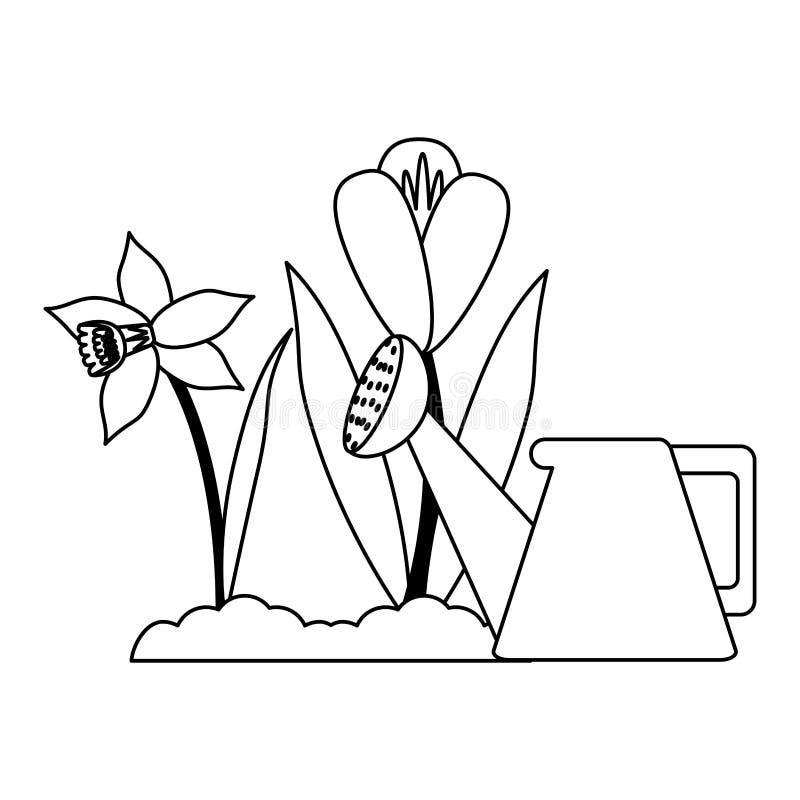Ο κήπος μπορεί ποτίζοντας να ανθίσει σε γραπτό διανυσματική απεικόνιση
