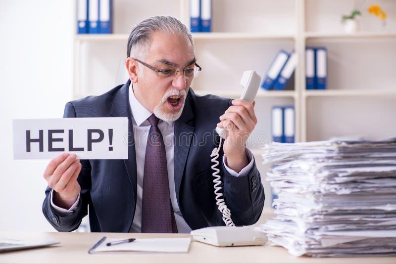 Ο λευκός γενειοφόρος παλαιός υπάλληλος επιχειρηματιών δυστυχισμένος με την υπερβολική εργασία στοκ εικόνα