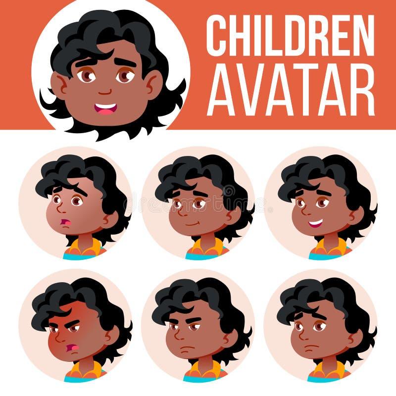 Ο Μαύρος, Afro αμερικανικό αγοριών διάνυσμα παιδιών ειδώλων καθορισμένο kindergarten Αντιμετωπίστε τις συγκινήσεις Πορτρέτο, χρήσ απεικόνιση αποθεμάτων