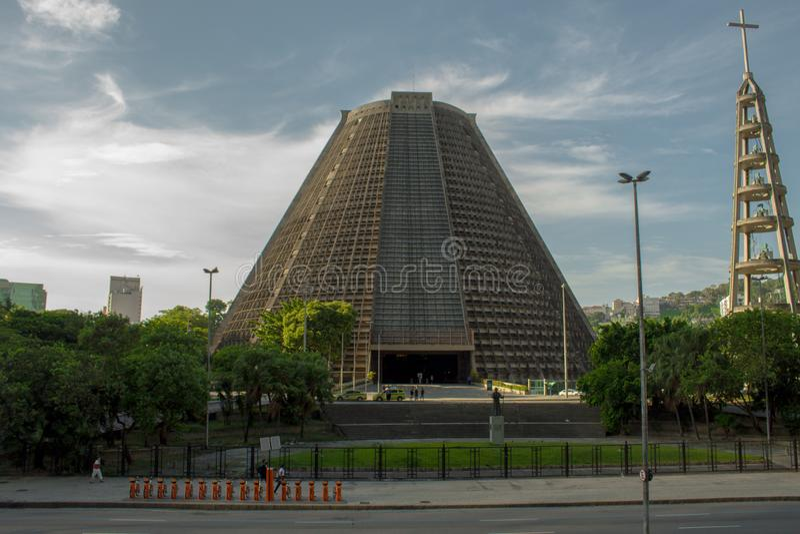 Ο μητροπολιτικός καθεδρικός ναός Αγίου Sebastian πορτογαλικά: Catedral Metropolitana de São Sebastião στοκ εικόνα με δικαίωμα ελεύθερης χρήσης