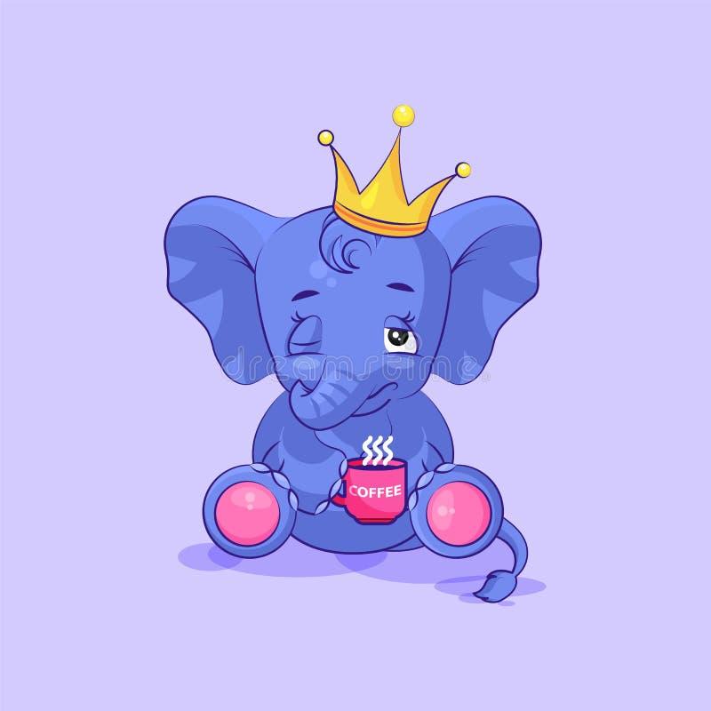 Ο μόσχος ελεφάντων ξύπνησε ακριβώς με το φλιτζάνι του καφέ απεικόνιση αποθεμάτων