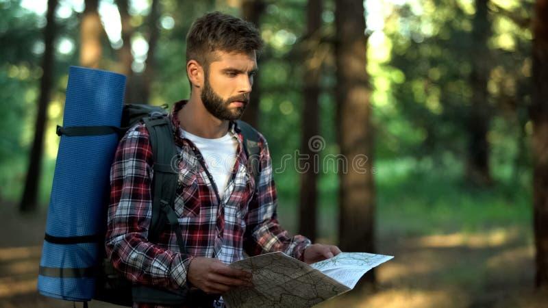 Ο ταραγμένος οδοιπόρος που χάνεται στο δάσος προσπαθεί να διαβάσει το χάρτη για τις κατευθύνσεις, συναισθηματική πίεση στοκ εικόνες