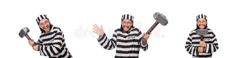Ο τρόφιμος φυλακών με το σφυρί που απομονώνεται στο λευκό στοκ εικόνες