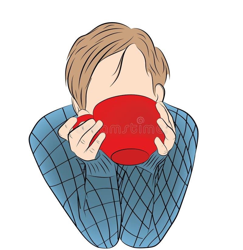 Ο τύπος πίνει το τσάι καφέ από ένα μεγάλο φλυτζάνι επίσης corel σύρετε το διάνυσμα απεικόνισης διανυσματική απεικόνιση