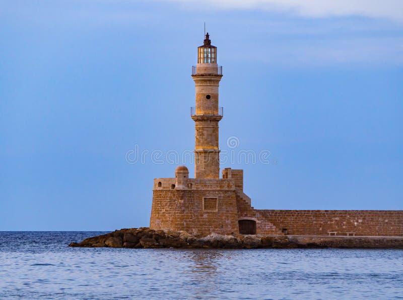 Ο φάρος Chania - της Κρήτης, Ελλάδα στοκ εικόνες