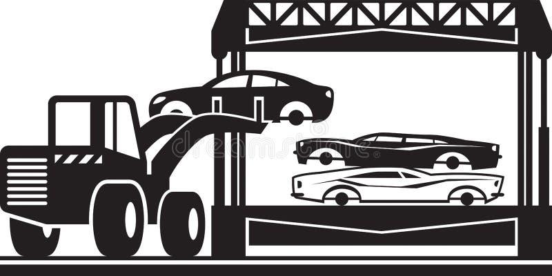 Ο φορτωτής γεμίζει το θραυστήρα αυτοκινήτων για το απόρριμα ελεύθερη απεικόνιση δικαιώματος