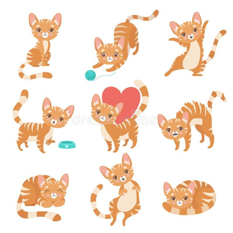 Ο χαριτωμένος αστείος κόκκινος χαρακτήρας γατών σε διάφορο θέτει και τις καταστάσεις καθορισμένες τη διανυσματική απεικόνιση διανυσματική απεικόνιση