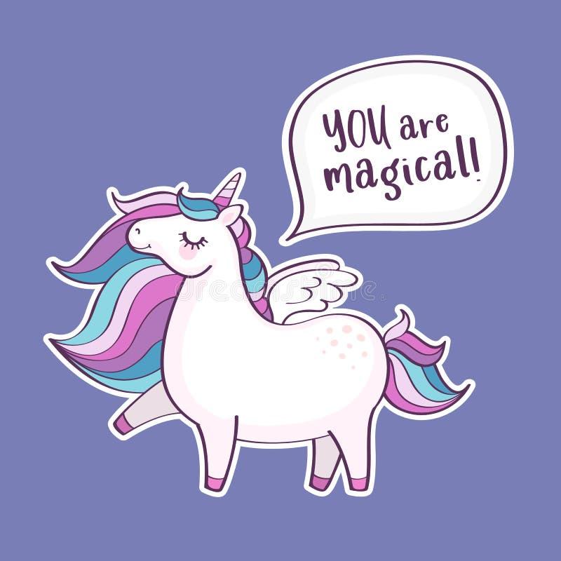 """Ο χαριτωμένος μαγικός μονόκερος με την επιγραφή """"εσείς είναι μαγικός """" ελεύθερη απεικόνιση δικαιώματος"""