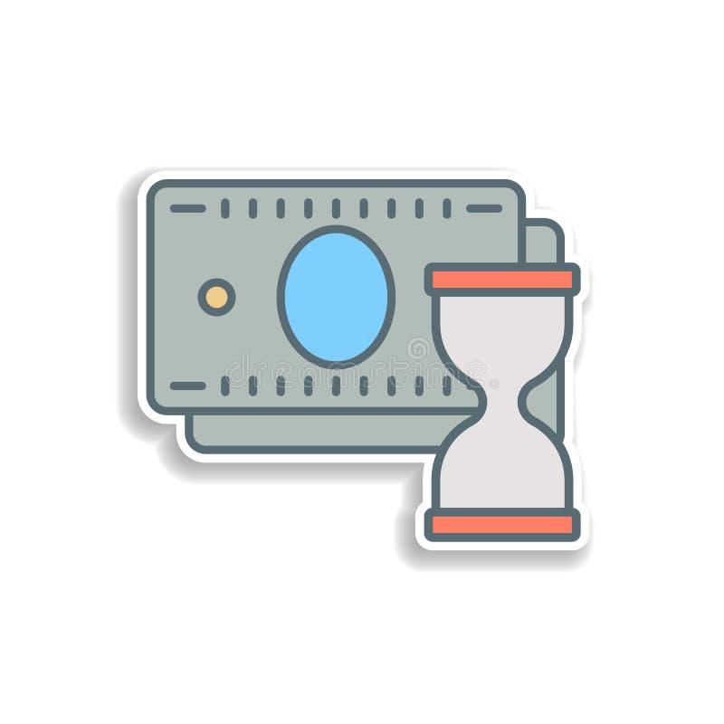 ο χρόνος είναι εικονίδιο αυτοκόλλητων ετικεττών χρημάτων Στοιχείο του τραπεζικού εικονιδίου χρώματος Εικονίδιο σχεδίου αυτοκόλλητ απεικόνιση αποθεμάτων