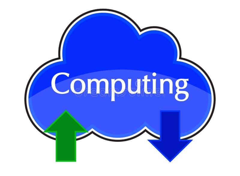 Ο υπολογισμός σύννεφων φορτώνει μεταφορτώνει το μπλε εικονιδίων στοκ εικόνα