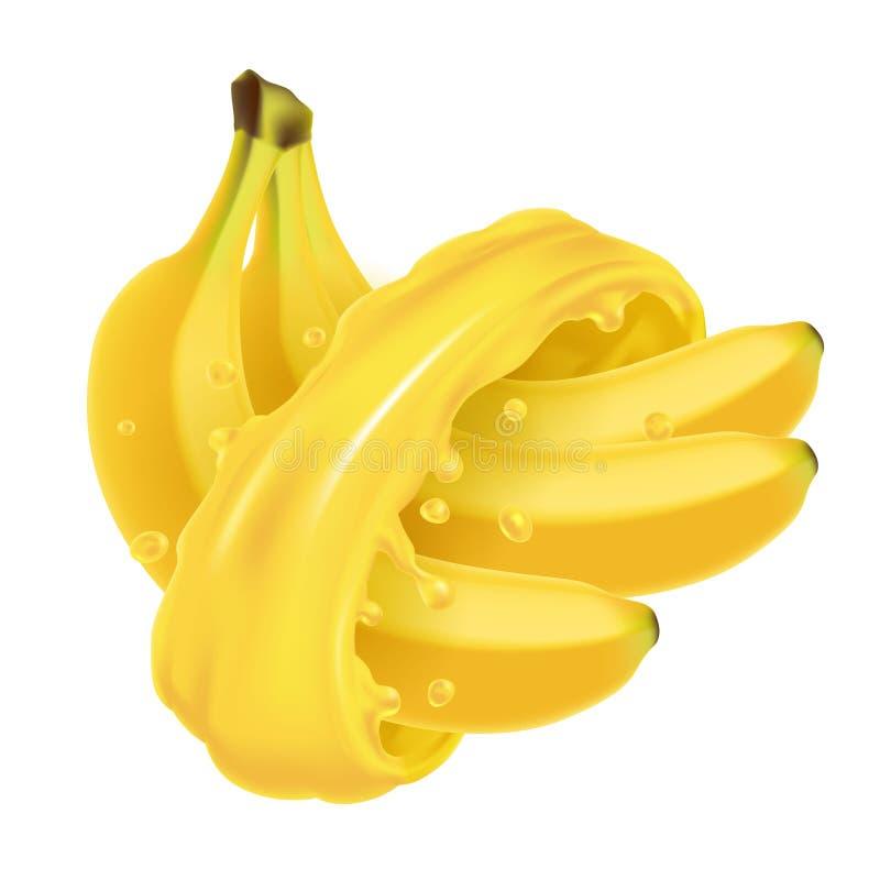 Δέσμη των μπανανών στον παφλασμό χυμού απεικόνιση αποθεμάτων
