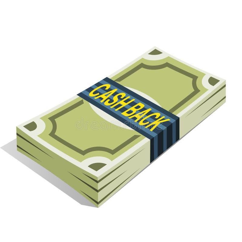 Δέσμη των χρημάτων με τα πράσινα τραπεζογραμμάτια και τα μετρητά κειμένων πίσω στη συσκευασία Έννοια επιστροφής Cashback ή χρημάτ ελεύθερη απεικόνιση δικαιώματος