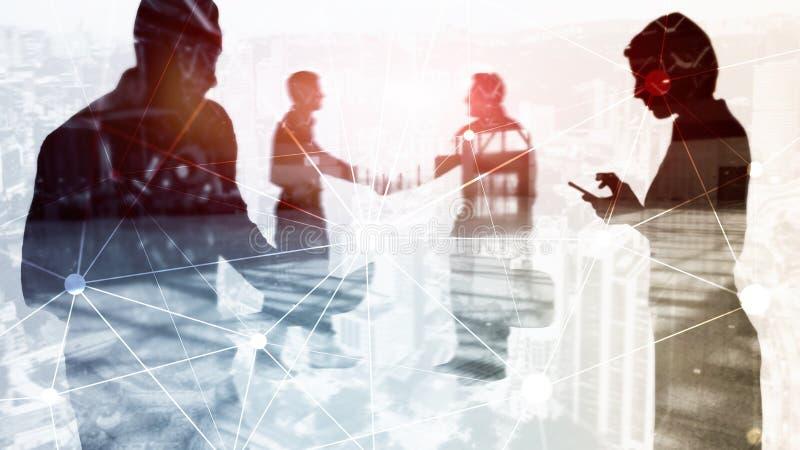 Δίκτυο Blockchain στο θολωμένο υπόβαθρο ουρανοξυστών Οικονομική έννοια τεχνολογίας και επικοινωνίας στοκ φωτογραφίες με δικαίωμα ελεύθερης χρήσης
