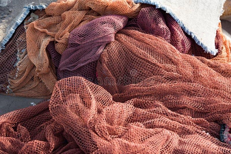 Δίχτυα του ψαρέματος, πορτοκάλι fishingnets στην παραλία στο Ομάν, fishingnet στοκ φωτογραφία με δικαίωμα ελεύθερης χρήσης