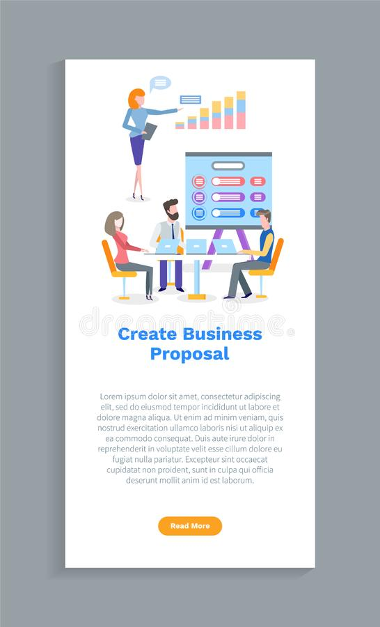 Δημιουργήστε την επιχειρησιακή πρόταση, τον εργαζόμενο και το διάνυσμα lap-top διανυσματική απεικόνιση