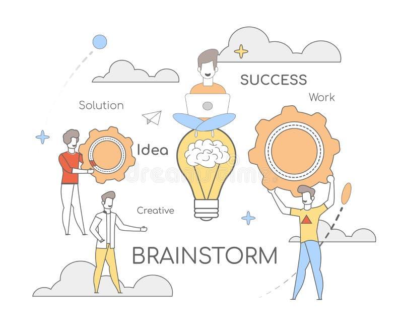 Δημιουργικός καταιγισμός ιδεών ιδέας εργασίας επιτυχίας λύσης διανυσματική απεικόνιση