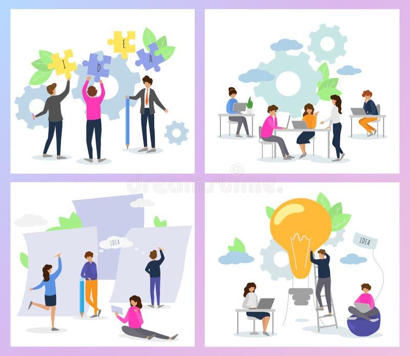 Δημιουργικός χαρακτήρας γυναικών ανδρών ανθρώπων διανυσματικός που εργάζεται μαζί στο σύνολο απεικόνισης γραφείων 'brainstorming' διανυσματική απεικόνιση