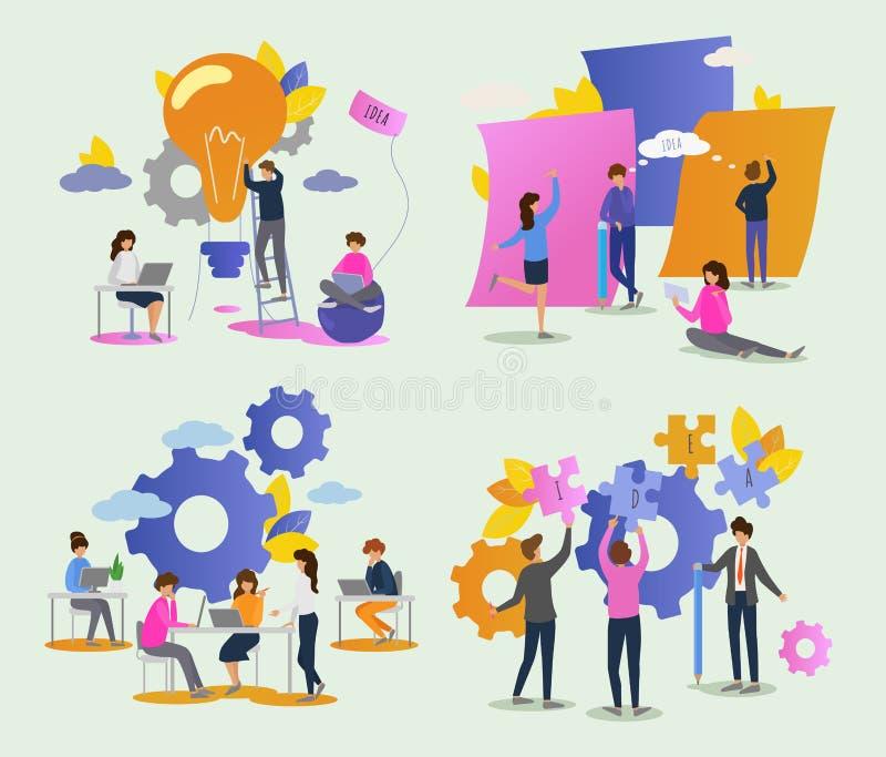 Δημιουργικός χαρακτήρας γυναικών ανδρών ανθρώπων διανυσματικός που εργάζεται μαζί στο σύνολο απεικόνισης γραφείων 'brainstorming' απεικόνιση αποθεμάτων