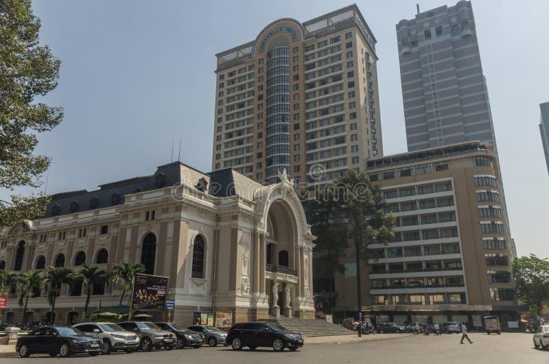 Δημοτικό θέατρο της πόλης Χο Τσι Μινχ γνωστής επίσης ως Όπερα του Ho Chi Minh στη πόλη Χο Τσι Μινχ, Βιετνάμ στοκ εικόνες