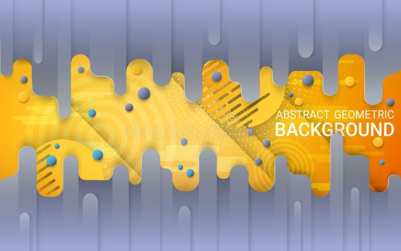διάνυσμα Αφηρημένο γκρίζο και κίτρινο υπόβαθρο Δονούμενες κλίσεις και δυναμικές γεωμετρικές μορφές ελεύθερη απεικόνιση δικαιώματος