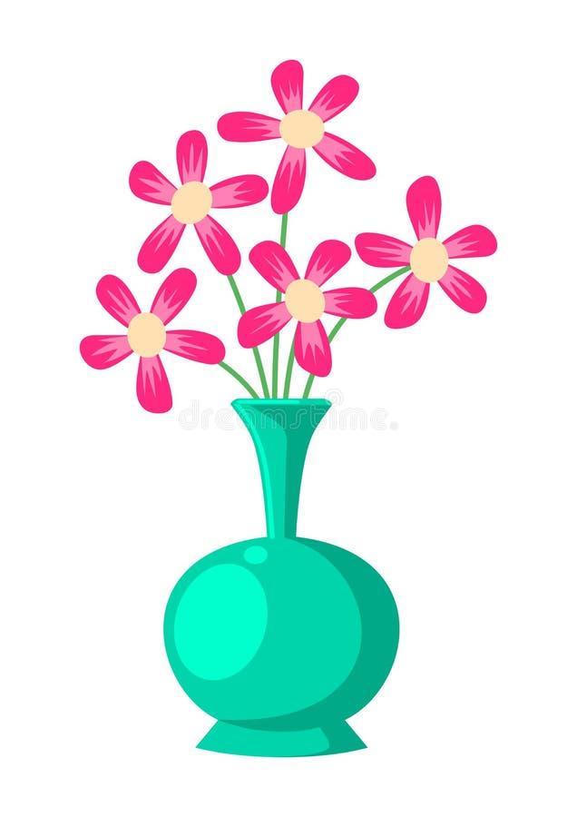 Διάνυσμα απεικόνισης λουλουδιών και βάζων ελεύθερη απεικόνιση δικαιώματος